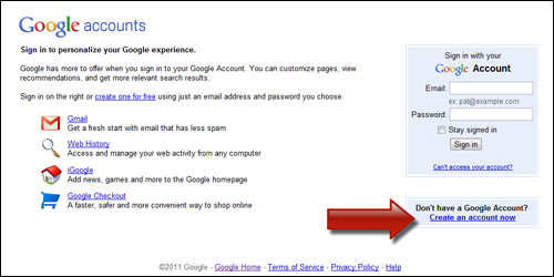 Create a New Account in Google